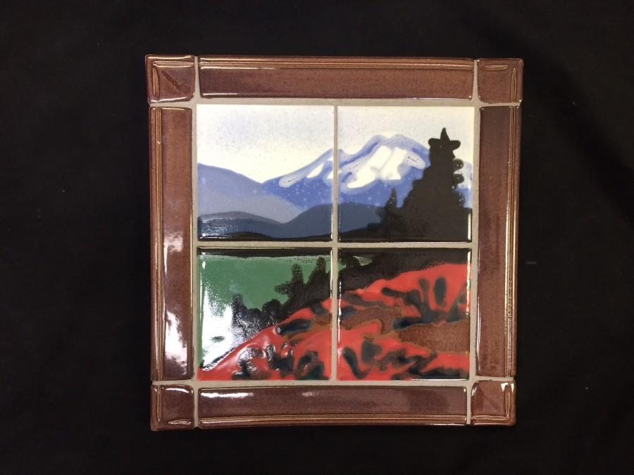 "Paul Lewing ""Mt. Rainier/ Trail Trivet"", cone 4 oxidation glazes, $90."